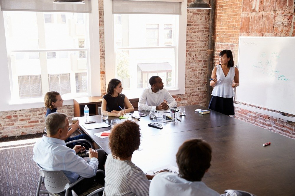 Emotional intelligence skills: Image of a female executive leading a team collaboration